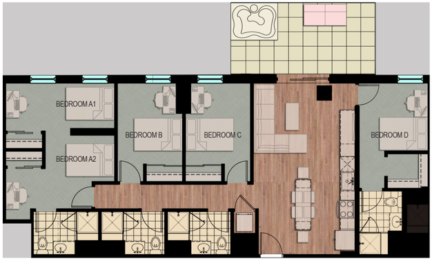 4 Bedrooms 3 Bathrooms Apartment for rent at Hub Madison in Madison, WI