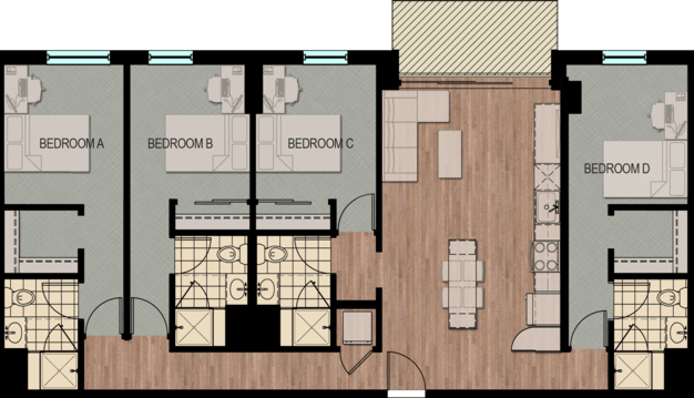 4 Bedrooms 4+ Bathrooms Apartment for rent at Hub Madison in Madison, WI