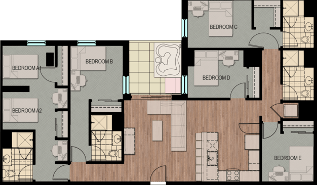 5 Bedrooms 4+ Bathrooms Apartment for rent at Hub Madison in Madison, WI