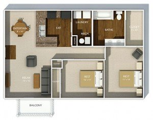 2 Bedrooms 1 Bathroom Apartment for rent at Hudson Square Apartments in Columbus, OH