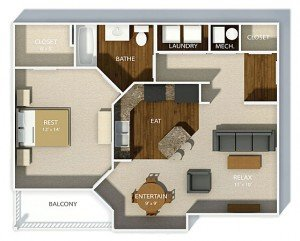 1 Bedroom 1 Bathroom Apartment for rent at Hudson Square Apartments in Columbus, OH