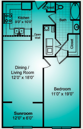 1 Bedroom 1 Bathroom Apartment for rent at The Reserve At Forest Hills in Wilmington, NC