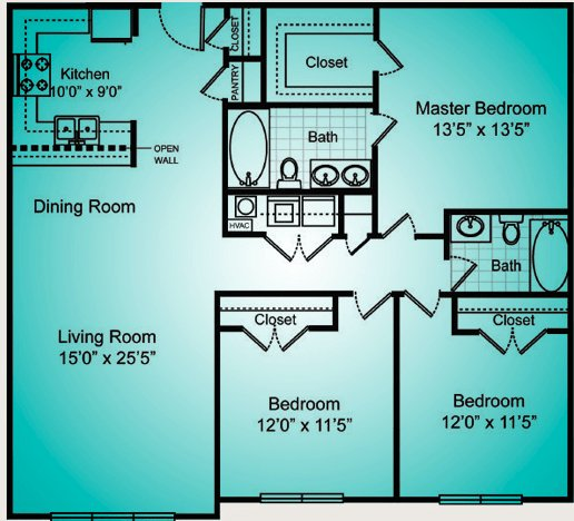 3 Bedrooms 2 Bathrooms Apartment for rent at The Reserve At Forest Hills in Wilmington, NC
