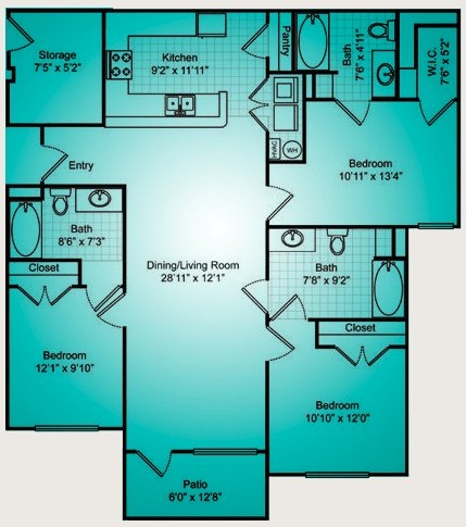 3 Bedrooms 3 Bathrooms Apartment for rent at The Reserve At Forest Hills in Wilmington, NC