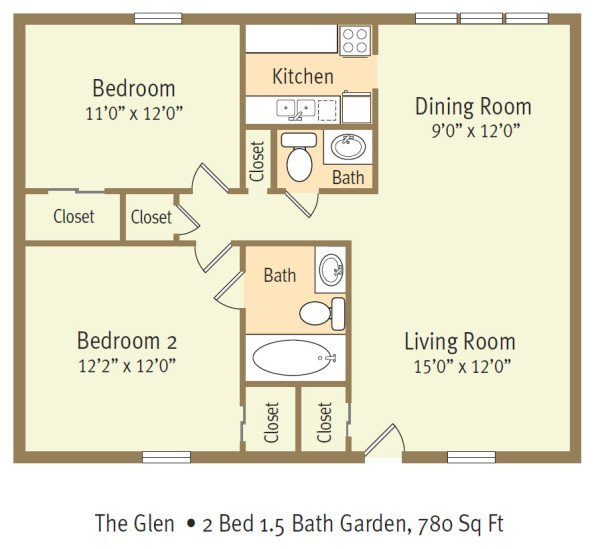 2 Bedrooms 2 Bathrooms Apartment for rent at The Glen Apartments in Wilmington, NORTH CAROLINA