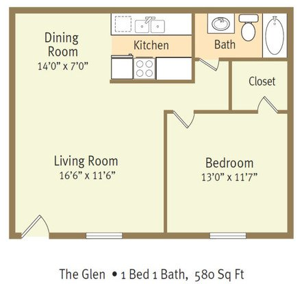 1 Bedroom 1 Bathroom Apartment for rent at The Glen Apartments in Wilmington, NORTH CAROLINA
