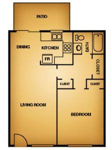1 Bedroom 1 Bathroom Apartment for rent at La Estancia Apartment Homes in El Paso, TX