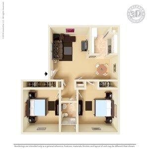 2 Bedrooms 1 Bathroom Apartment for rent at Celina Plaza Apartments in El Paso, TX