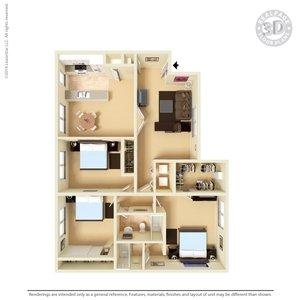 3 Bedrooms 2 Bathrooms Apartment for rent at Celina Plaza Apartments in El Paso, TX