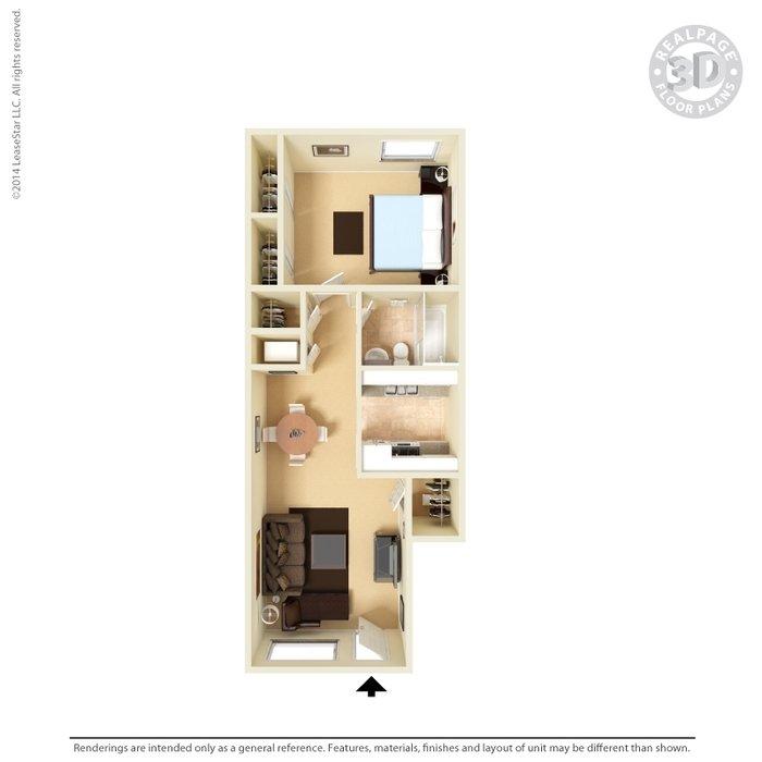 1 Bedroom 1 Bathroom Apartment for rent at Vista Village Apartments in El Paso, TX
