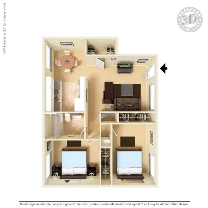 2 Bedrooms 1 Bathroom Apartment for rent at Vista Village Apartments in El Paso, TX