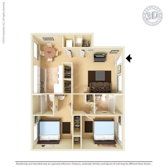 2 Bedrooms 2 Bathrooms Apartment for rent at Vista Village Apartments in El Paso, TX
