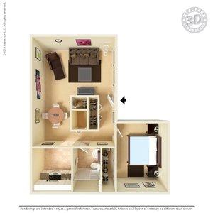 1 Bedroom 1 Bathroom Apartment for rent at Tres Vistas Apartment Homes in El Paso, TX