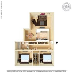 2 Bedrooms 1 Bathroom Apartment for rent at Tres Vistas Apartment Homes in El Paso, TX