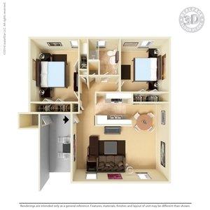 2 Bedrooms 1 Bathroom Apartment for rent at The Hills At North Mesa in El Paso, TX