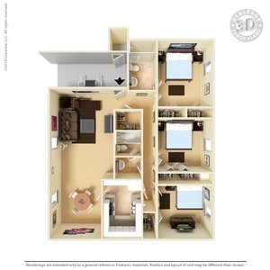 3 Bedrooms 2 Bathrooms Apartment for rent at The Hills At North Mesa in El Paso, TX