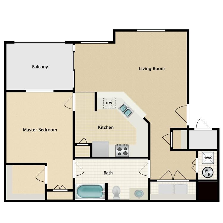 1 Bedroom 1 Bathroom Apartment for rent at Villas At Helen Troy Apartments in El Paso, TX