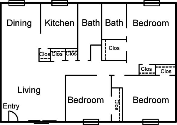 3 Bedrooms 2 Bathrooms Apartment for rent at Altuda Arms Apartments in El Paso, TX