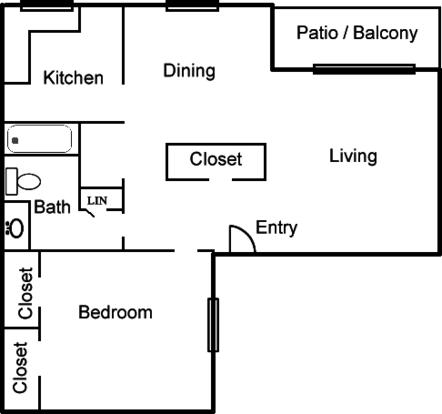 1 Bedroom 1 Bathroom Apartment for rent at Coronado Trails Apartment in El Paso, TX