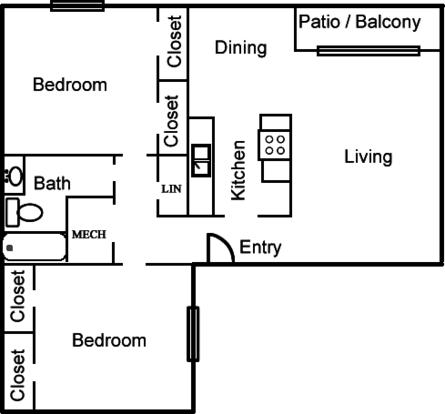2 Bedrooms 1 Bathroom Apartment for rent at Coronado Trails Apartment in El Paso, TX