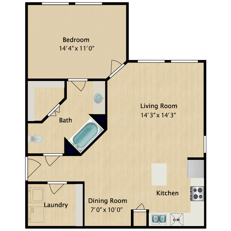 1 Bedroom 1 Bathroom Apartment for rent at Avalon West in El Paso, TX