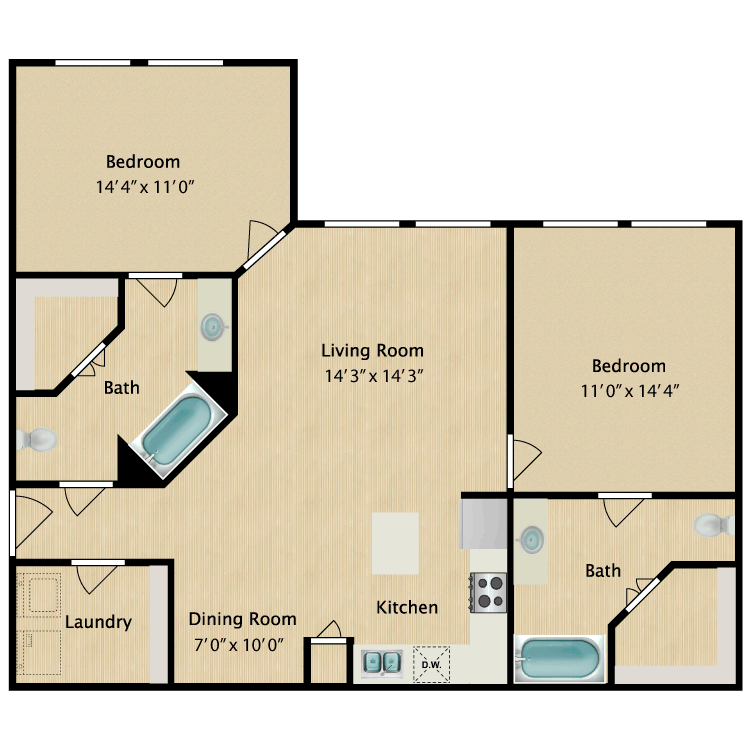 2 Bedrooms 2 Bathrooms Apartment for rent at Avalon West in El Paso, TX