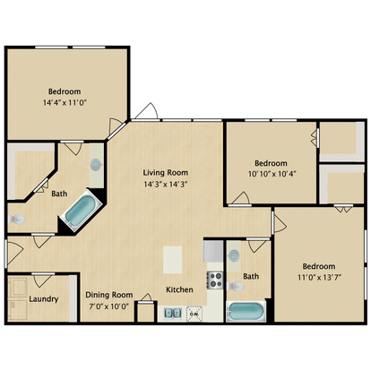 3 Bedrooms 2 Bathrooms Apartment for rent at Avalon West in El Paso, TX
