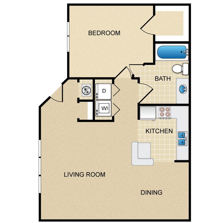 1 Bedroom 1 Bathroom Apartment for rent at Las Norias in El Paso, TX