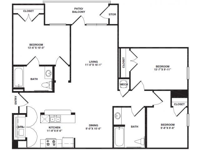 3 Bedrooms 2 Bathrooms Apartment for rent at Bristol Park Apartments in Oak Ridge, TN