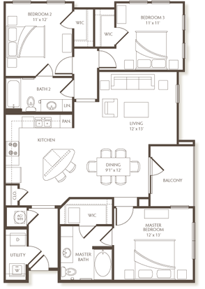 3 Bedrooms 2 Bathrooms Apartment for rent at The Preserve At Hardin Valley in Knoxville, TN