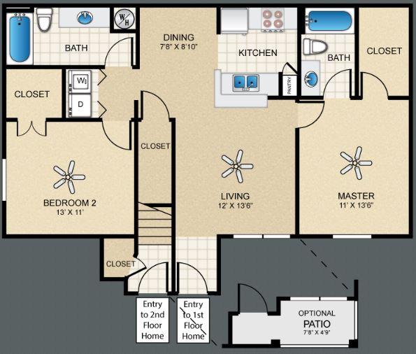 2 Bedrooms 2 Bathrooms Apartment for rent at Puerta Villa At Cimarron in El Paso, TX