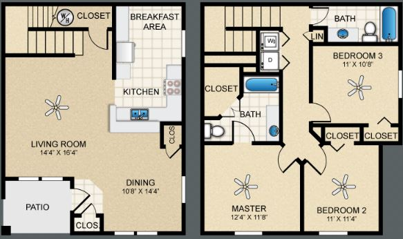 3 Bedrooms 2 Bathrooms Apartment for rent at The Bungalows At Hueco Estates in El Paso, TX