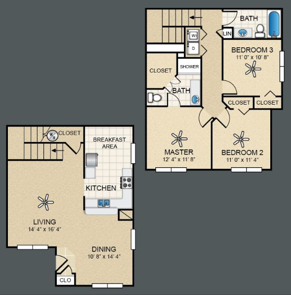 3 Bedrooms 2 Bathrooms Apartment for rent at The Bungalows At North Hills in El Paso, TX