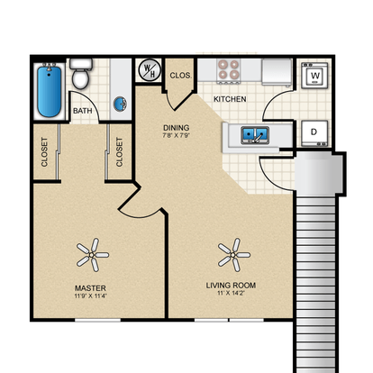 1 Bedroom 1 Bathroom Apartment for rent at The Cottages At Edgemere in El Paso, TX