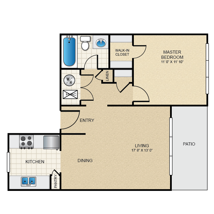 1 Bedroom 1 Bathroom Apartment for rent at The Pointe in El Paso, TX
