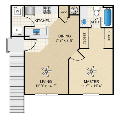 1 Bedroom 1 Bathroom Apartment for rent at The Bungalows At North Hills in El Paso, TX