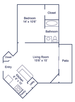 1 Bedroom 1 Bathroom Apartment for rent at 1700 Place Apartment in Charlotte, NC