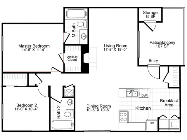 2 Bedrooms 2 Bathrooms Apartment for rent at Bridges At Quail Hollow in Charlotte, NC