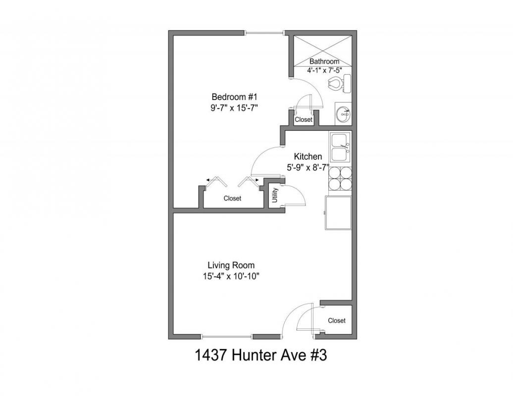 1 Bedroom 1 Bathroom Apartment for rent at 1437 Hunter Ave in Columbus, OH