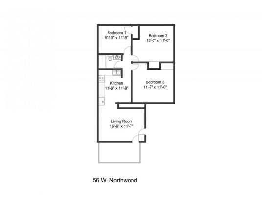 3 Bedrooms 1 Bathroom Apartment for rent at 56-60 1/2 W Northwood Ave in Columbus, OH