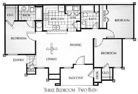 3 Bedrooms 2 Bathrooms Apartment for rent at Meridian Club Apartments in Papillion, NE