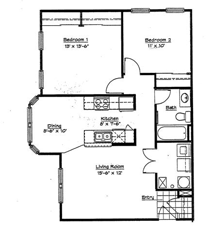 2 Bedrooms 1 Bathroom Apartment for rent at Murphy Park Apartments in St Louis, MO