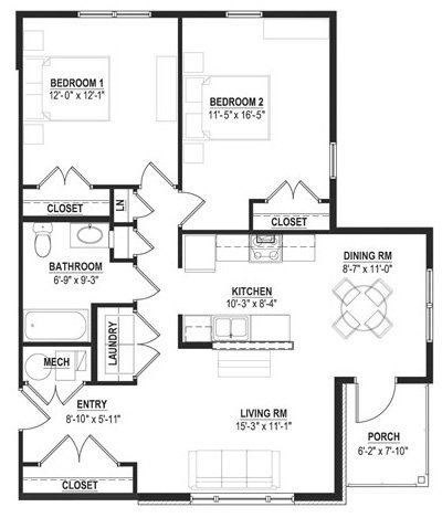 2 Bedrooms 1 Bathroom Apartment for rent at Cornerstone Village in Pittsburgh, PA
