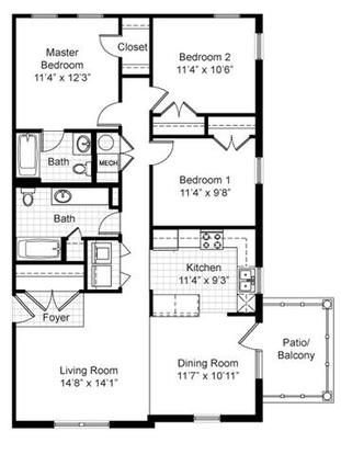 3 Bedrooms 2 Bathrooms Apartment for rent at Renaissance Place At Grand Apartments in St Louis, MO