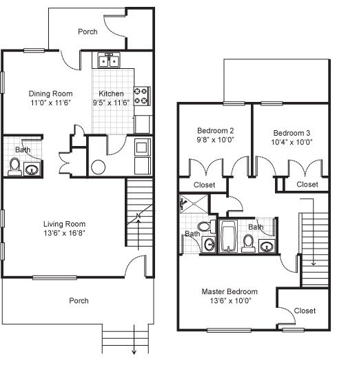 3 Bedrooms 2 Bathrooms Apartment for rent at Legends Park in Memphis, TN