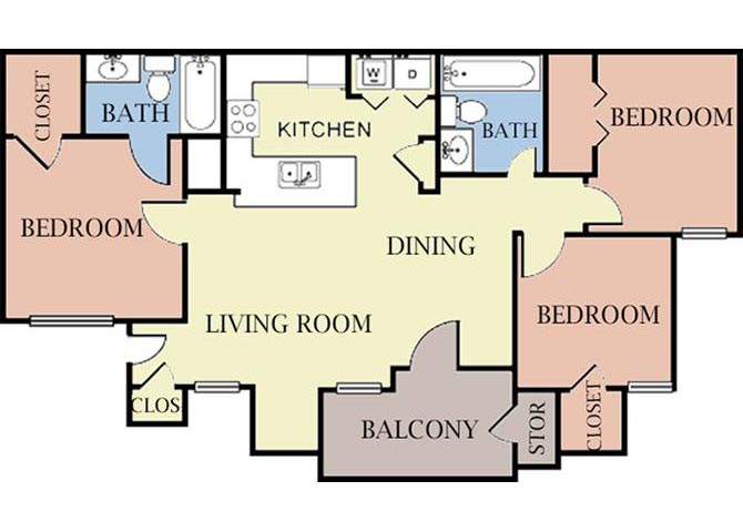 3 Bedrooms 2 Bathrooms Apartment for rent at Cambury Hills Apartments in Omaha, NE