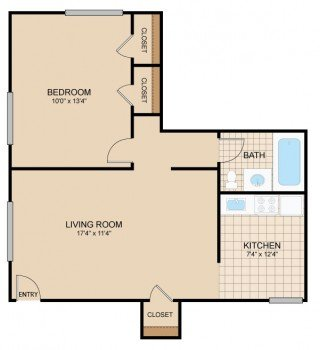 1 Bedroom 1 Bathroom Apartment for rent at Cloverleaf Village in Pittsburgh, PA