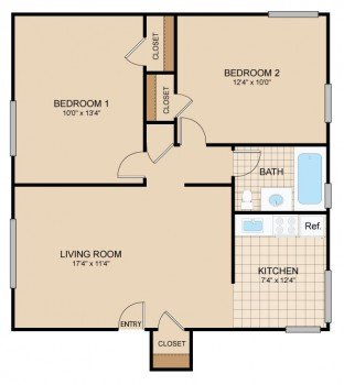 2 Bedrooms 1 Bathroom Apartment for rent at Cloverleaf Village in Pittsburgh, PA