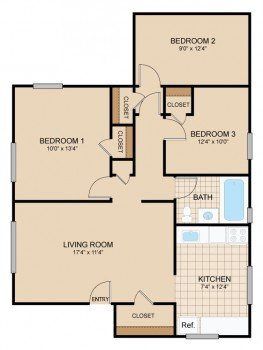 3 Bedrooms 1 Bathroom Apartment for rent at Cloverleaf Village in Pittsburgh, PA