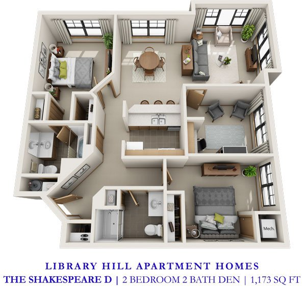 2 Bedrooms 2 Bathrooms Apartment for rent at Library Hill Apartments in Milwaukee, WI